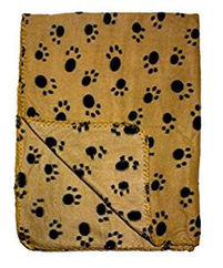 "Fleece Paw Print Pet Blanket 39"" x 27"" Brown"
